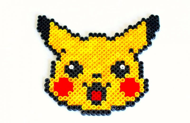 How-to-make-a-Pikachu-out-of-Perler-beads-Stop-Motion