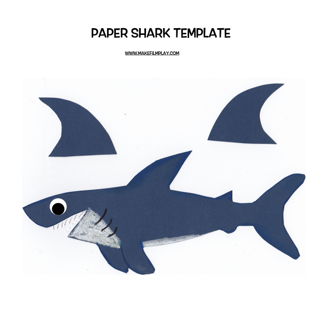 Paper shark stop motion tutorial make film play for Shark teeth template